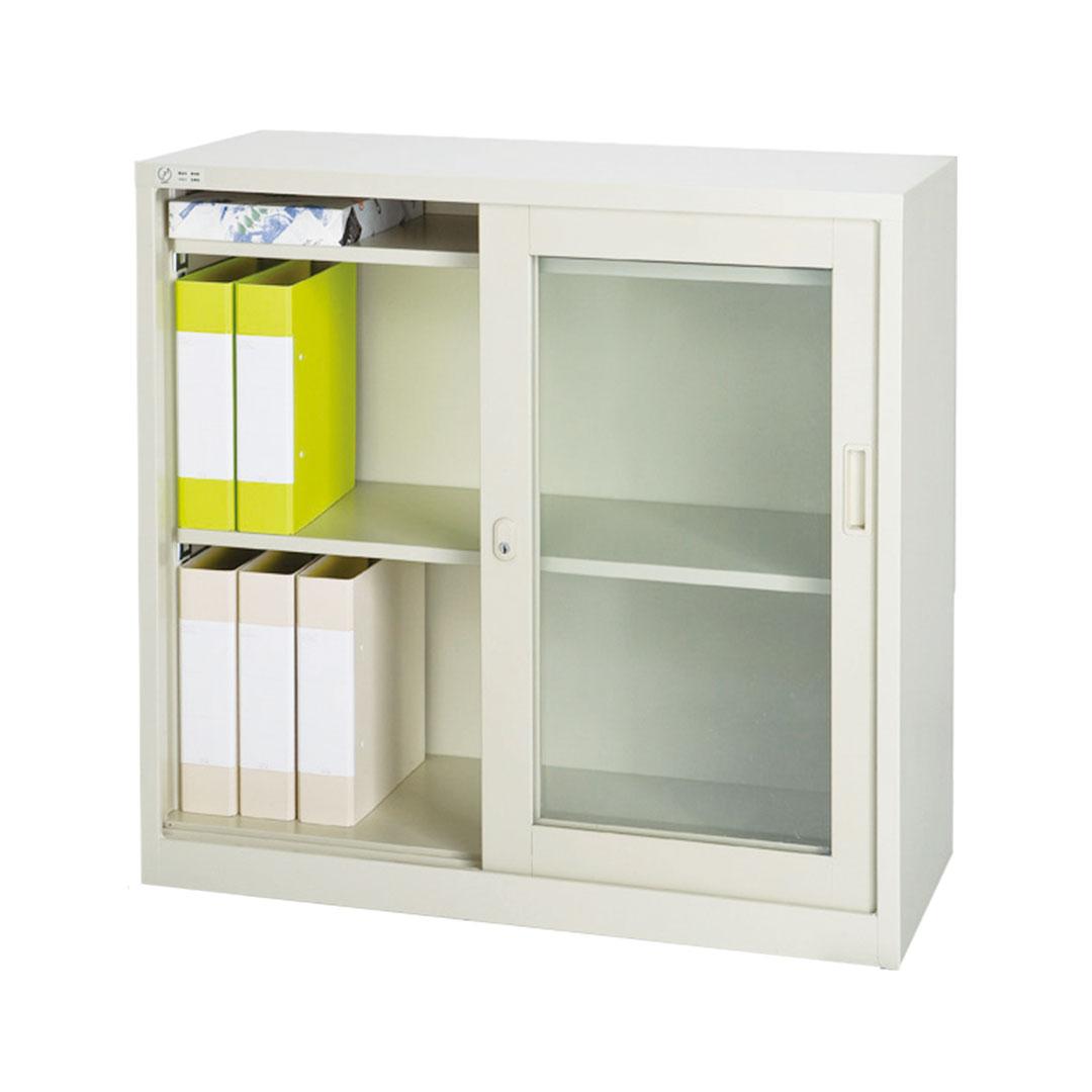 引き違い書庫 ガラス戸使用例
