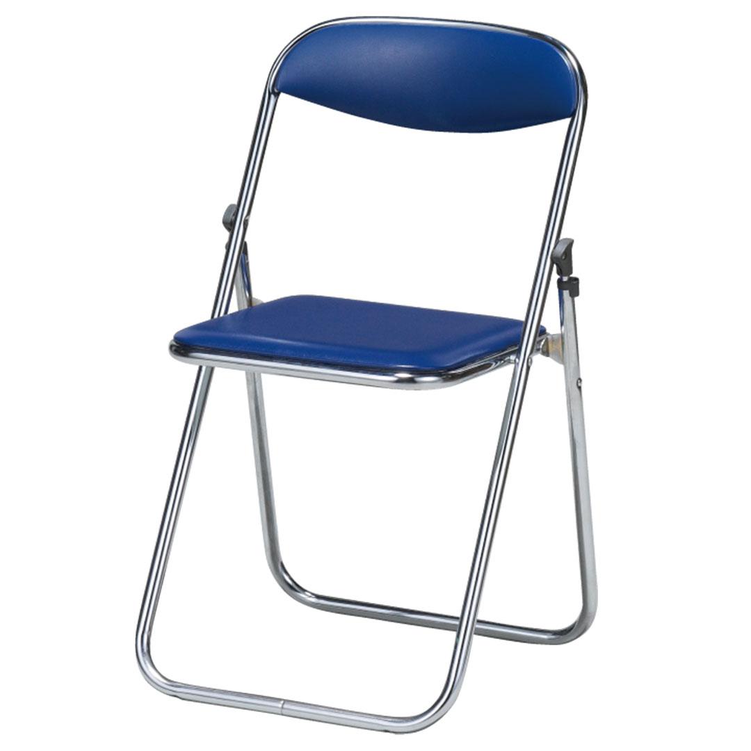 折畳椅子 合皮 ネイビー 中古