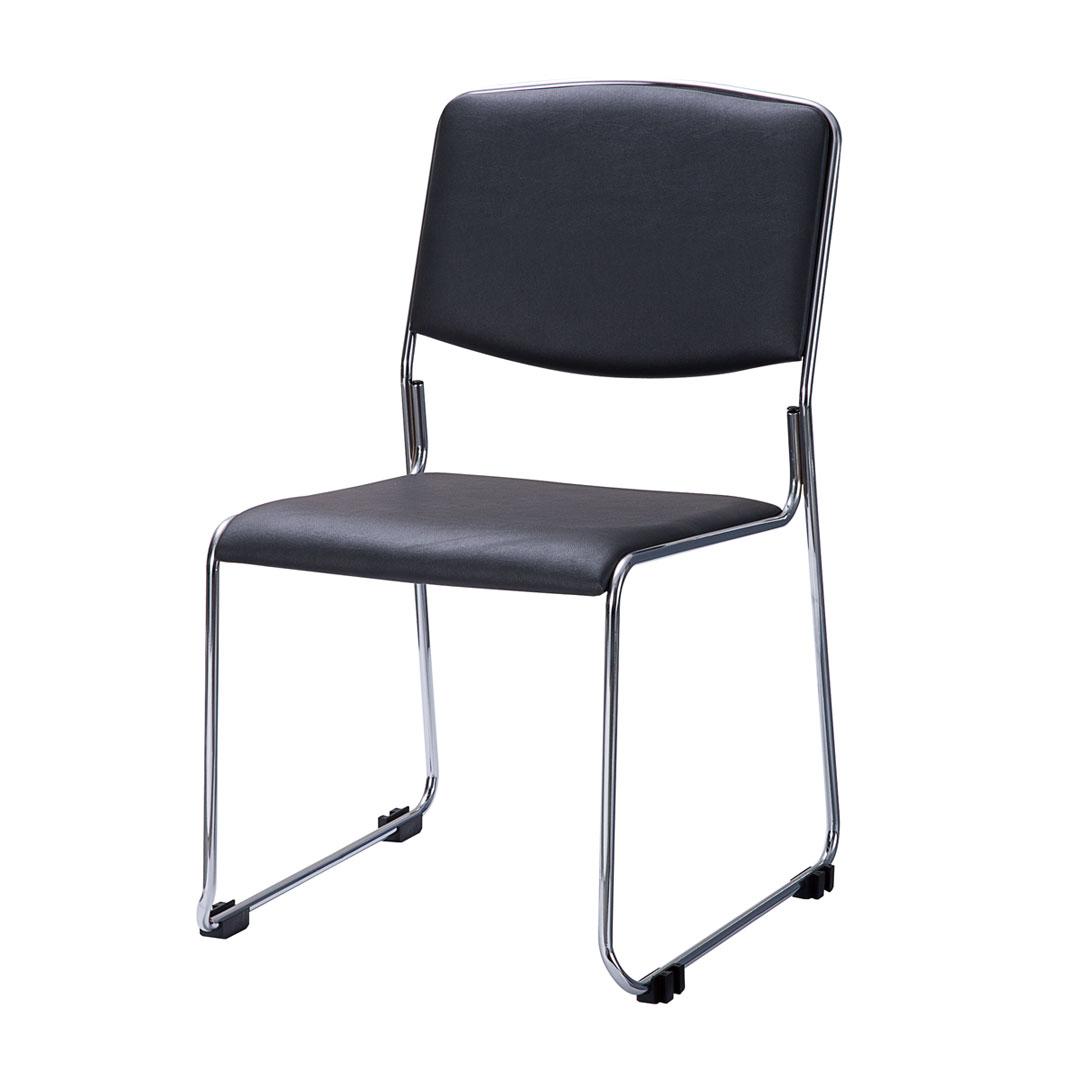 ミーティングチェア 会議椅子 スタッキングチェア ダークグレー 中古