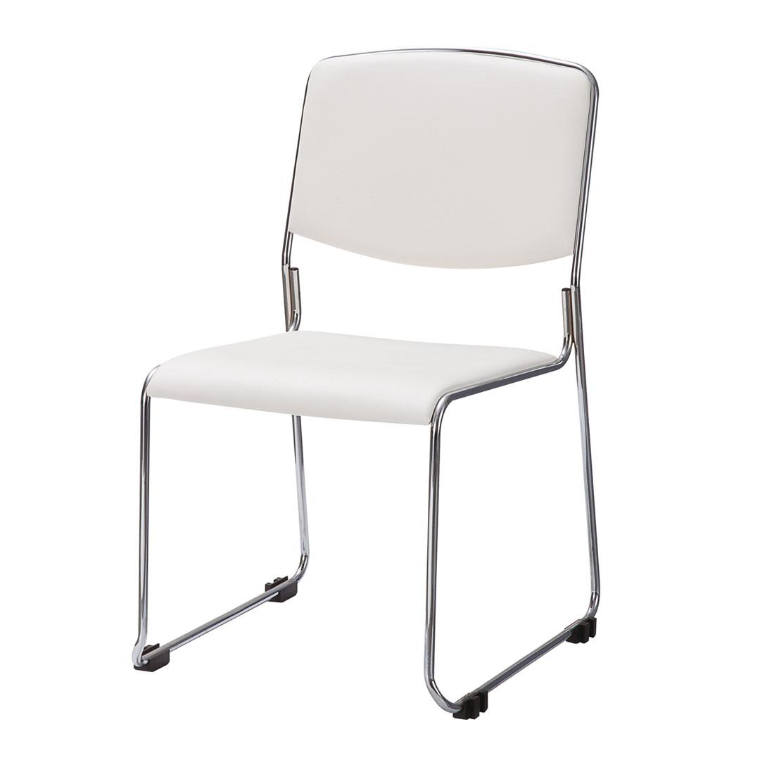 ミーティングチェア 会議椅子 スタッキングチェア ホワイト 白 中古