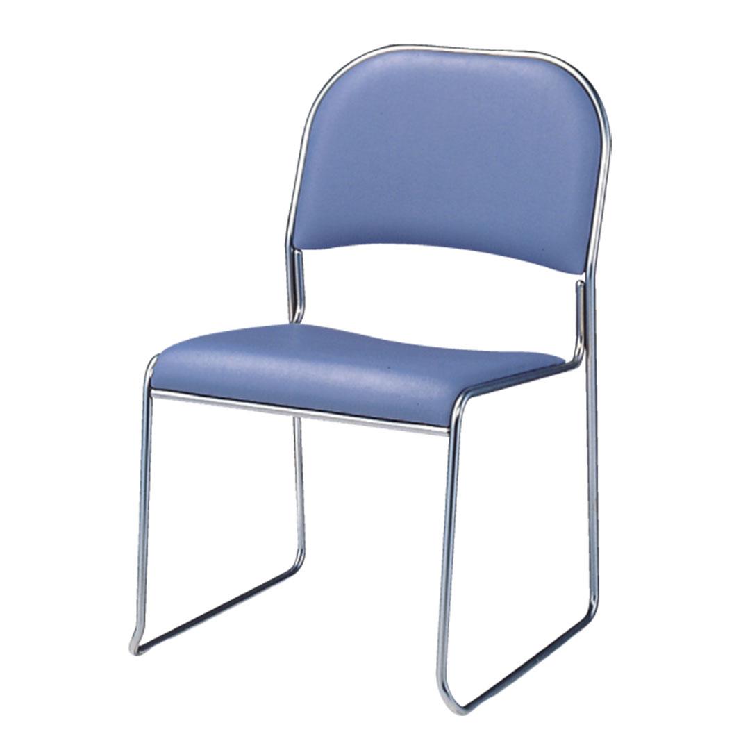 ミーティングチェア 会議椅子 スタッキングチェア ブルー 中古
